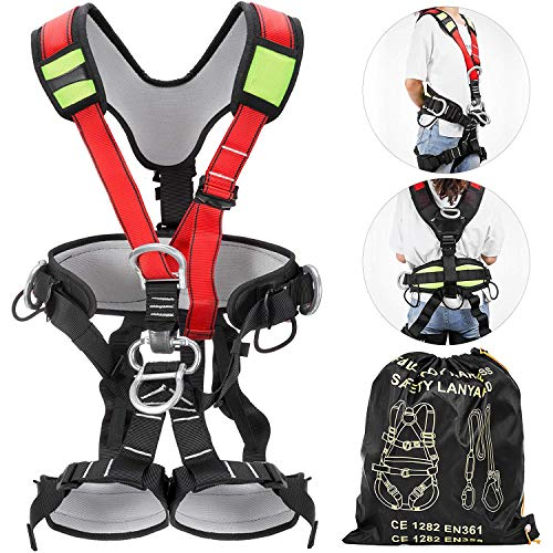 Happybuy Safety Climbing Harness Fall Protection Rock Climbing Equip Gear Rappelling Harness Ideal for Rock Climbing Floor Escape Rappelling Roofing Working and Other Activities
