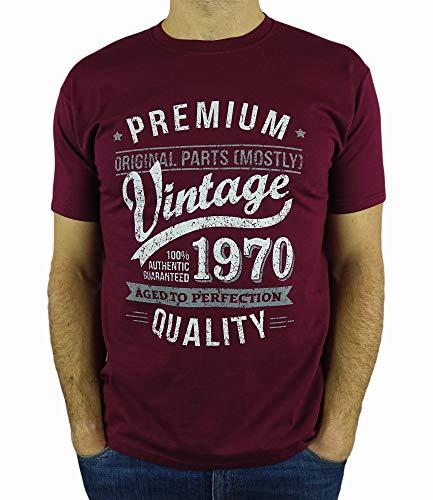 My Generation Gifts Vintage Year - Aged to Perfection - 50 Cumpleaños Años - Regalo de Cumpleaños Camiseta para Hombre - Borgoña L