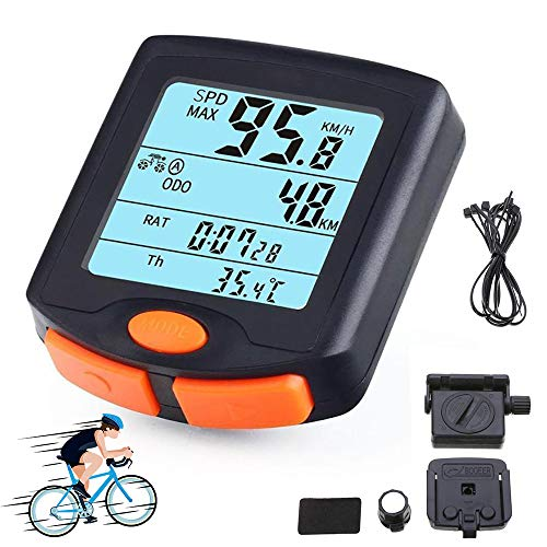 XIYAN Ciclo de la Bici del velocímetro, 24 función Impermeable del velocímetro LCD de Pantalla Grande retroiluminación de la Pantalla, usada para Mountain Bike Riding Medición de Velocidad
