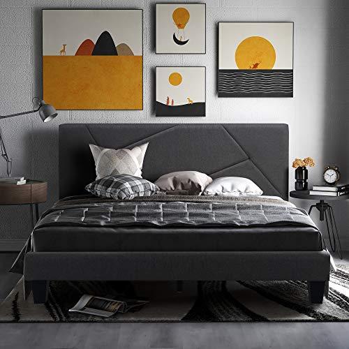 Merax Polsterbett, Einzelbett Bettgestell, Stauraum, geposlteres Bett mit Kopfteil, 140 x 200 cm mit Lattenrahmen