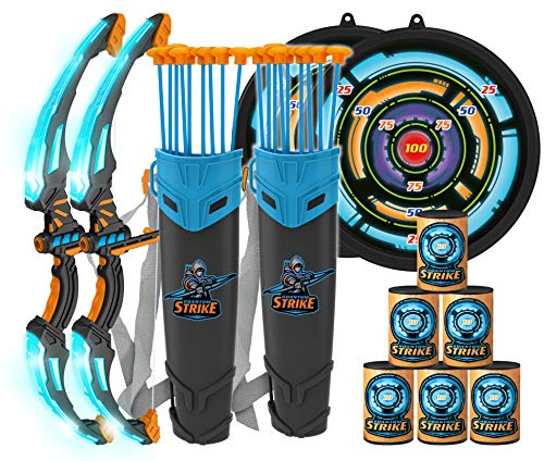 JOYIN 2 Pack Graviton Bow and Arrow Archery Toy Set for Kids Light Up Archery Play Set with 2 Luminous Bows 18 Suction Cups Arrows 8 Targets and 2 Quivers