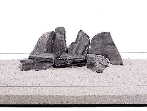 Aquarium Natursteine Mini Landschaft Steine schwarz grau 20 Kg Gr.L 1-2 Kg Nr.73 Rückwand Pagode Dekoration Aquascaping