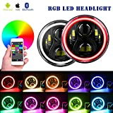 DOT Approved 7' LED Headlights Bulb RGB Halo Angel Eye for 1997-2018 JK LJ Sahara Sport Rubicon Hummer H1 H2...