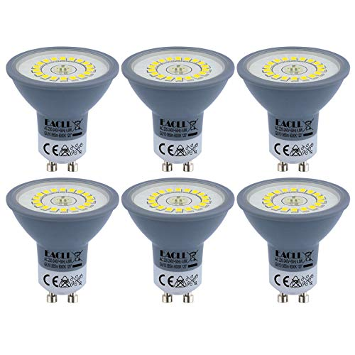 EACLL Bombillas LED GU10 6000K Blanco Frio 4.8W Fuente de Luz 585 Lúmenes Equivalente 50W Halógena Lámpara. AC 230V Sin Parpadeo Focos, 120 ° Luz Diurna Blanca Fría Reflectoras Spotlight, 6 Pack