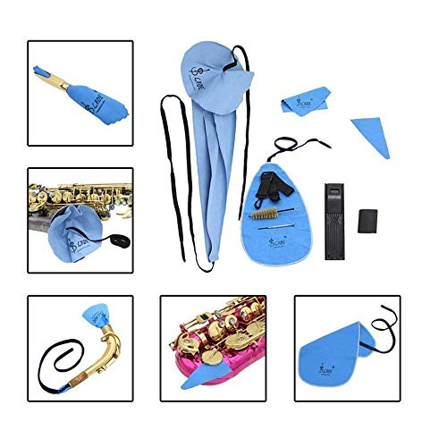 Reinigungstuch für Saxophon 10-in-1 Cleaning Saxophone Care Kit Belt Thumb Rest Cushion Case Reed Mouthpiece Brush Mini Screwdriver Cleaning Clot