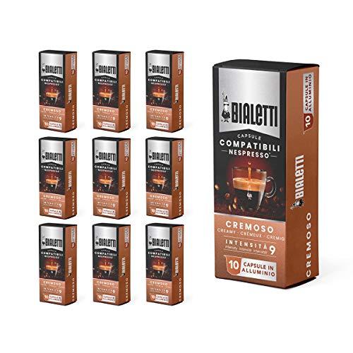 Bialetti Capsule Compatibili Nespresso, Gusto Cremoso (intensità 9), 100 Capsule in alluminio (10 confezioni da 10 capsule)