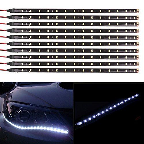 Taben 12 V Auto Moto 30 cm LED flexible étanche bande lumineuse Blanc 1210–15smd (4-Pack)
