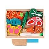 Binoster Magnetisch Holzschnitt Früchte, Gemüse Essen Spiel Spielzeug-Set Hacken Spiel Essen Lernen Prep Kit für Kleinkinder Spielküche vorgeben