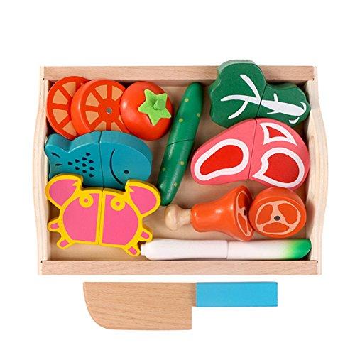 Binoster Corte de Madera magnético Frutas Verduras Alimentos Juego de Juguete Juego de Cortar Juego de Aprendizaje Kit de preparación de Alimentos para niños pequeños Juegos de Mesa de Cocina