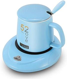 Luemdss Almohadilla de Taza de 55 Grados Calentador de Leche Caliente Almohadilla de Taza Azul eléctrico Base Aislante Mini Copa calefactora Base de Vidrio para