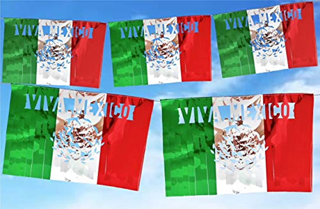 Fiestas Patrias Metallic Papel Picado Banner.Vibrant Colors Plastic. Extra Large Size Panels. Multicolored Viva Mexico Design