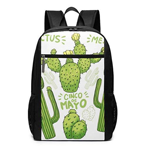 AOOEDM Travel Backpacks Cartoon Green Cactus White School Shoulder Laptop Daypack Bags 17 Inch for Girls Boys Men Womens, Black