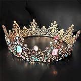 Panpan Vintage Oro de la Reina Corona Incrustaciones de 7 Tipos de Diamantes de Color Joyas de la Princesa del Rhinestone de Coronas Tiara Cabeza de cumpleaños, Halloween, Navidad