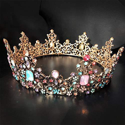 Panpan Vintage Regina Gold Crown intarsio 7 Tipi di Diamanti Colorati monili Principessa di Cristallo del diadema corone Nuziali Capo per Il Compleanno, Halloween, Natale