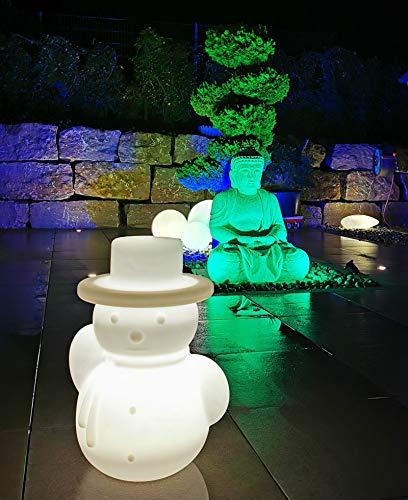 Trango 7232L IP65 LED Leuchtfigur Schneemann inkl. 1x E27 LED Leuchtmittel & ca. 5 Meter Zuleitungskabel *SNOWMAN* Höhe ca. 60cm in Weiß satiniert Gartenlampe, Außenlampe, Wegbeleuchtung, Außenleuchte