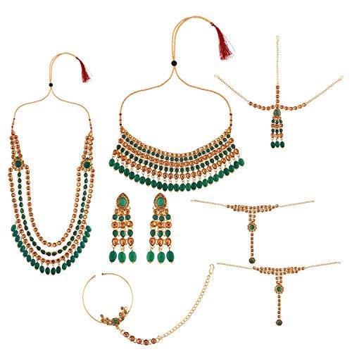 Efulgenz Juego de gargantilla de cristal Kundan de Bollywood de la India para novia, collar y pendientes, cadena de cabeza de Maang Tikka verde
