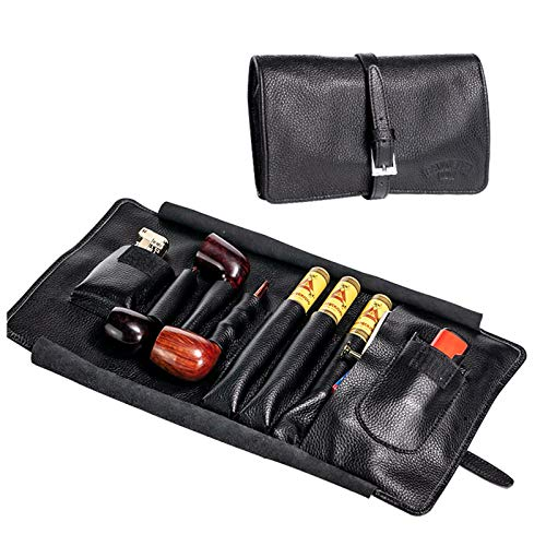 Leather Travel Tobacco Pipe Pouch, Portable Leather Smoke Pouch Storage Case Secure String Wrap Design, Soft Multifunction Storage Bag for Pipe and Accessories