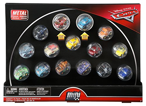 Disney Cars Diecast Mini Racers Variety 15-pack Including First-Look Metallic Rust-Eze Racing Center Lightning McQueen and Metallic Intro Ramone plus Jackson Storm, Cruz Ramirez, Mater, Smokey, 9 More