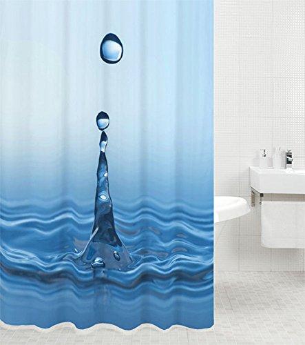 Duschvorhang Tropfen 180 x 200 cm, hochwertige Qualität, 100prozent Polyester, wasserdicht, Anti-Schimmel-Effekt, inkl. 12 Duschvorhangringe