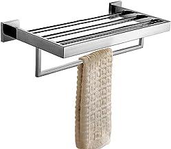 Homovater Modern Chrome Handdoek Bar Square Basis Enkele Handdoek Rail Houder Badkamer Accessoire, 304 roestvrij staal, Ge...