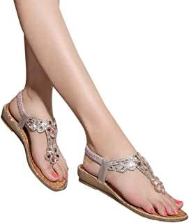 Creazrise Bohemian Glitter Summer Flat Sandals Rhinestone Fashion Flat Large Size Thongs Flip Flop Shoes Pink