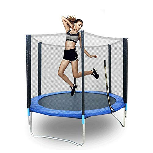 Outdoor Garden Trampoline - 6Ft Trampoline With Enclosure Safety Net,Spring Cover Foam Padding - Ladder, Edge Cove, Safe for Kids Family Outdoor Fun