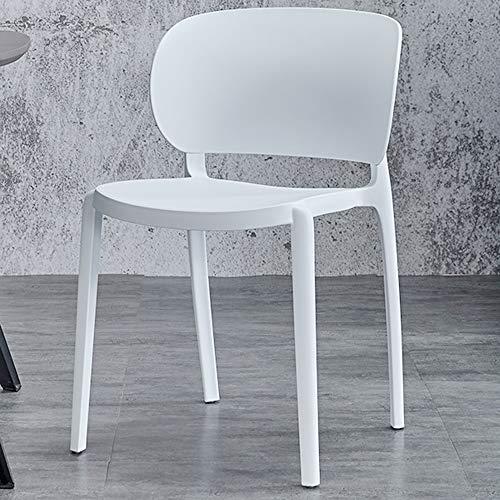 Silla Individual, Silla Superior Apilable, Silla Nórdica Moderna Interior Y Al Aire Libre, Cena Y Silla De Plástico Casual (Color : White)