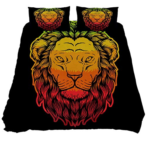 N\O Lion Head Colorful Bedding Sets Breathable Bedclothes 3 Pieces Bedding Duvet Cover Sets (1 Duvet Cover + 2 Pillowcases) Room Decor Ultra Soft Microfiber(NO Comforter Included)