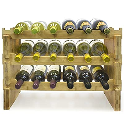 Sorbus Stackable Bamboo Wine Rack- Classic Style Wine Racks for Bottles- Perfect for Bar, Wine Cellar, Basement, Cabinet, Pantry, etc.