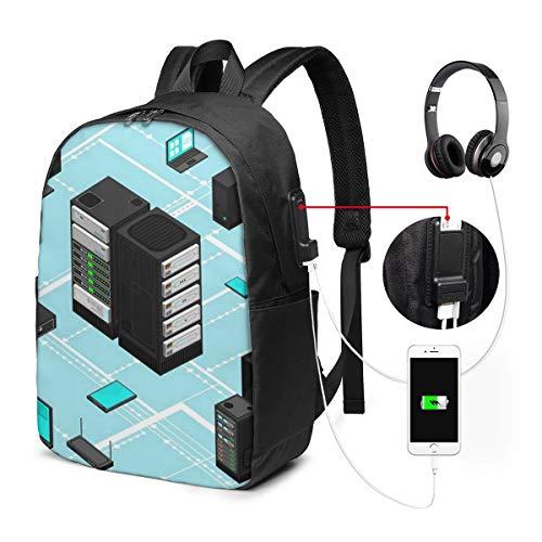 Schulrucksack Mit USB Port Jungen Mädchen Teenager, Rucksack Schule Laptop Rucksack für Herren Damen Daypacks für 15,6 Zoll Laptop Rucksack Datendaten Netzwerkverwaltung Isometrisch