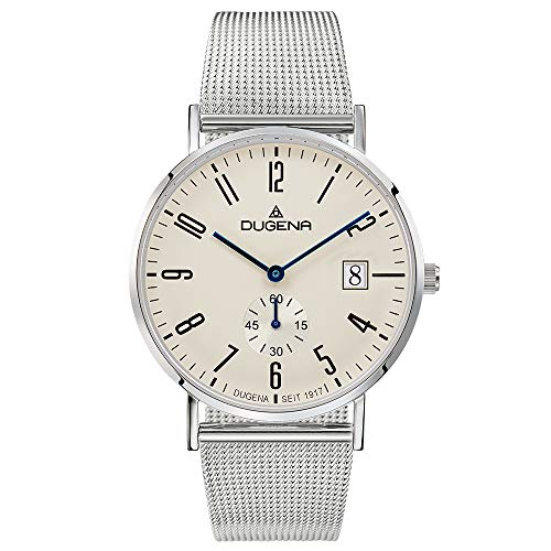 Dugena Herren Quarz-Armbanduhr, Saphirglas, Milanaise-Armband, Mondo, Silber, 4460781