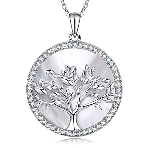 MEGACHIC Women Tree of Life Sterling Silver Mother of Pearl Pendant Necklace Crystals from Swarovski(Silver necklace)