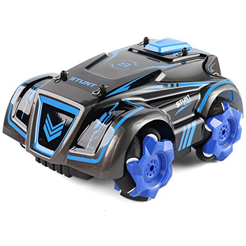 IIIL 2.4Ghz RC Stunt Car, Coche Teledirigido Drift Truck 4WD Rotación 360 ° con Grandes Luces Intermitentes Batería Recargable para Niños Y Adultos,Azul