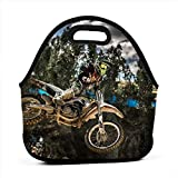 Aeoiba Women Men Kids Motocross Sport Motorcycle Vehicle Neoprene Lunch Tote Bag Insulated Lunch Box with Shoulder Strap Leak-Proof Lunch Organizer for Picnic/Office/Beac
