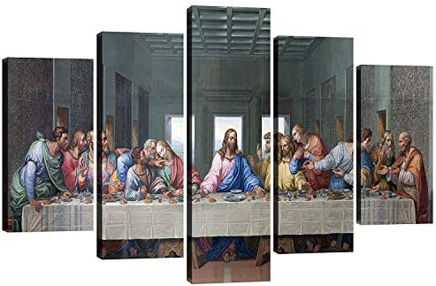 Fu Keivy Jesus Last Supper Wall Decor for Dining Room Kitchen Canvas Wall Art 5 Piece Wall Picture product image