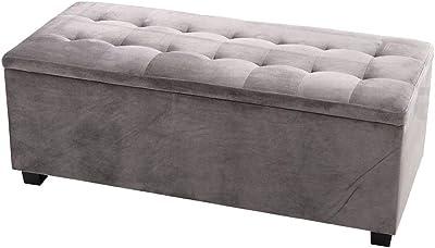 Artiss Storage Ottoman Velvet Blanket Box - Light Grey