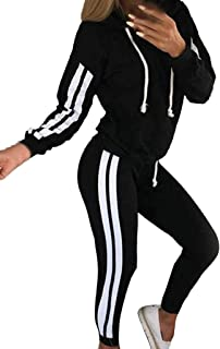 Women's Stripe Sweatsuit Sets 2 Piece Outfits Long Sleeve Pullover Hoodies and Bodycon Long Pants Tracksuit Loungewear Sets Fall Winter