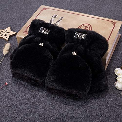 Guantes de Invierno cálidos de Punto Suave para Mujer, Guantes de conducción de Medio Dedo, Guantes de Felpa Gruesos y Bonitos para Pantalla táctil de Gato-H45 Black