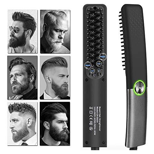 Cepillo alisador de pelo,alisador barba,cepillo barba,plancha barba,peine profesional hombre,alisador hombre pelo (negro)