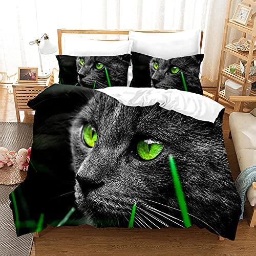 Fundas Nordicas Gato Negro Ropa de Cama 150x200 Fácil Cuidado,Suave y Suave -1 x Fundas Almohada de 50x75cm
