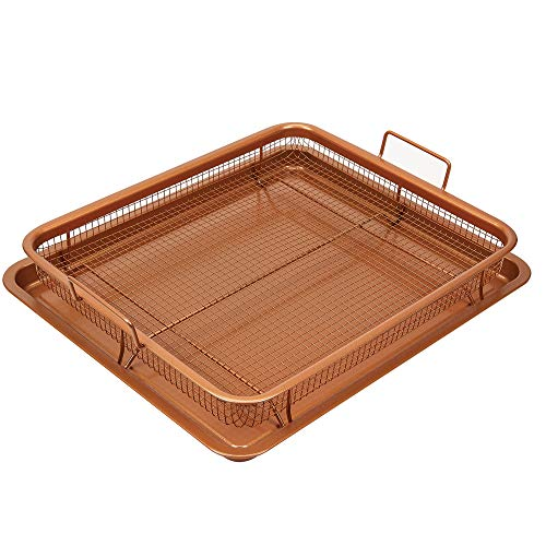 SHAQ XL Crisper, Nonstick Bakeware Set with Air Fryer Pan and Baking Sheet for Oven; 2-piece., 18.5-Inch (Copper)