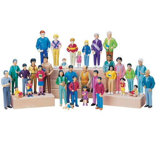 Constructive Playthings Pretend Play Multi-Cultural Families, Toy Figures for Kids, Set of 4