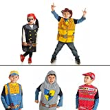 IQ Toys Boys and Girls Costumes Dress Up Costumes Play Set - 11 Pc Pretend Set for Kids Comes with Car Racer, Knight, Cowboy, Construction Worker, and Pirate Costume