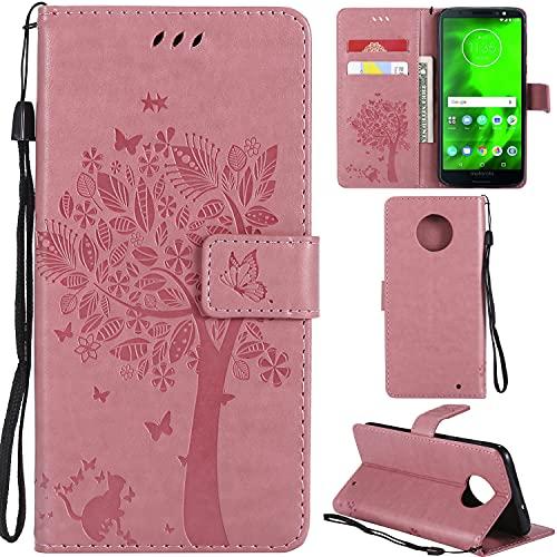 Ooboom® Motorola Moto G6 Plus Hülle Katze Baum Muster Flip PU Leder Schutzhülle Handy Tasche Hülle Cover Standfunktion mit Kartenfächer für Motorola Moto G6 Plus - Rosa