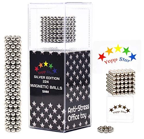YoppStar Magnetic Balls Magnet Toy Mashable Anxiety Stress Relief Office Toy - 224 pcs 5mm - Desktop Toys for Adults - Desktop Magnets Toys for Adults (Silver)