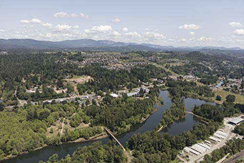 24 x 36 Giclee Print ofAerial View of The Camas Slough a Small Tributary of The Columbia River Near The Vancouver Washington Suburb of Camas y17 2018 Highsmith