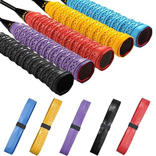 Fodlon 5 Stück Griffband Badminton Schläger, Griffbänder Tennisschläger Selbstklebend, Griffband Badmintonschläger rutschfest Anti Sweat für Squash, Springseil, Angelrute