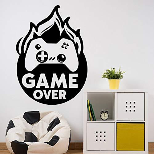 Kreatives Spiel über Cartoon Feuerpuppe Joystick Game Controller Vinyl Wandaufkleber Aufkleber Spielzimmer Videospiel Game Boy Schlafzimmer Dekoration Kunst Wandbild Poster