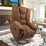 oneinmil Electric Power Lift Recliner Chair, Linen Recliners for Elderly, Home Sofa Chairs with Heat & Massage, Remote Control, 3 Positions, 2 Side Pockets and USB Ports, Chocolate