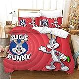 Bugs Bunny - Juego de ropa de cama (Bugs Bunny, microfibra de lujo, sin relleno, suave, ligero, fácil de cuidar, 3 piezas, 135 x 200 cm + 80 x 80 cm x 2)